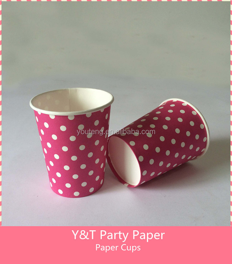 Fuchsia Polka dots Disposable paper cups Birthday Party Table Ware 10pcs Set