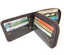 Men's Genuine leather Bifold Zip around wallet Real Human leather wallet