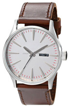 Stainless Steel Watch with Brown Leather Band with dual date movt watch