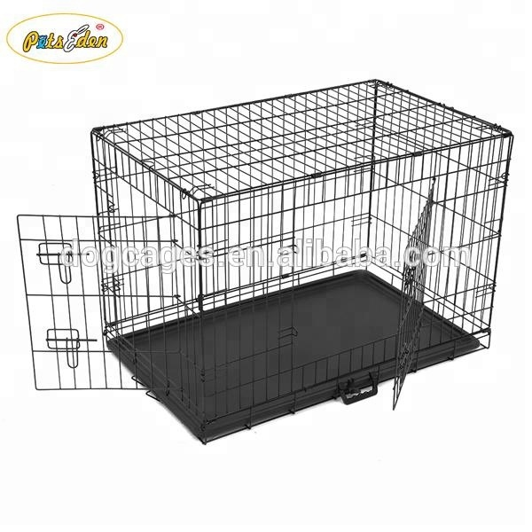 "Black 36"" Pet Folding Dog Cat Crate Cage Kennel With ABS Tray"