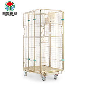4 sided logistics trolley pallet containers steel wire mesh roll metal storage cage with wheels