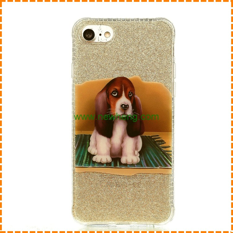 Wholesale Sparkling TPU gel case for iPhone 7 Plus, Glittering print cartoon dog phone case for iPhone 7