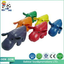 PVC PU vinyl leather stuffed footbag hippo animal toys for children indoor playing