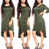Dark Green Round Neck Loose Fit High Low Dress Plain Casual Bodycom Slim Fit Jersey Cotton Knit Vintage Dress Wholesale
