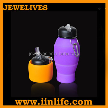 Promotioal kids collapsible silicone water bottle