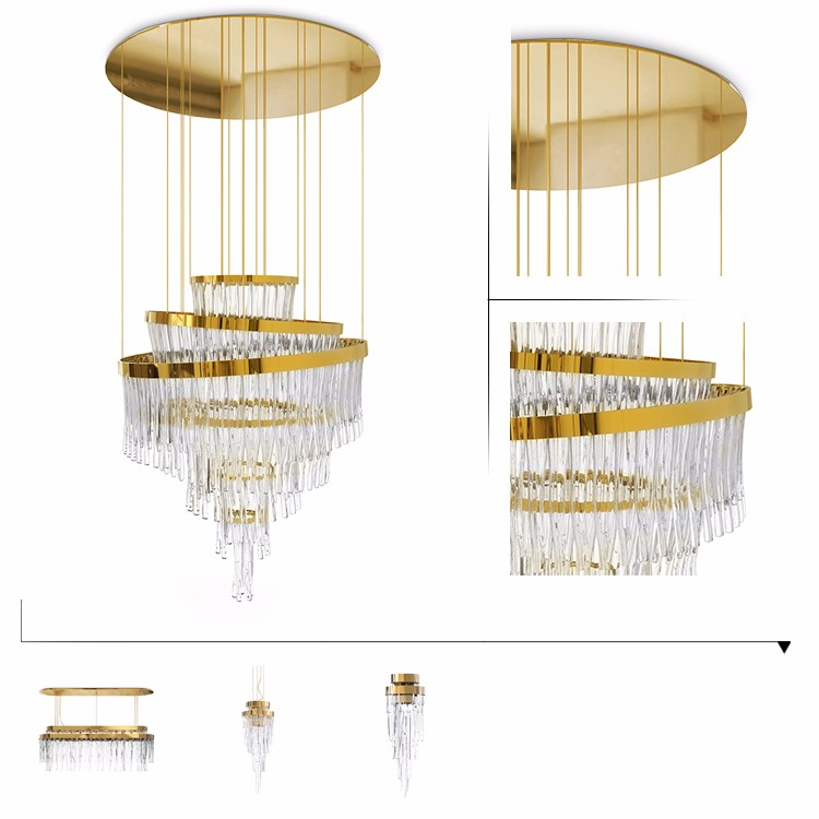 New modern deisgn golden crystal glass chandliers luxury
