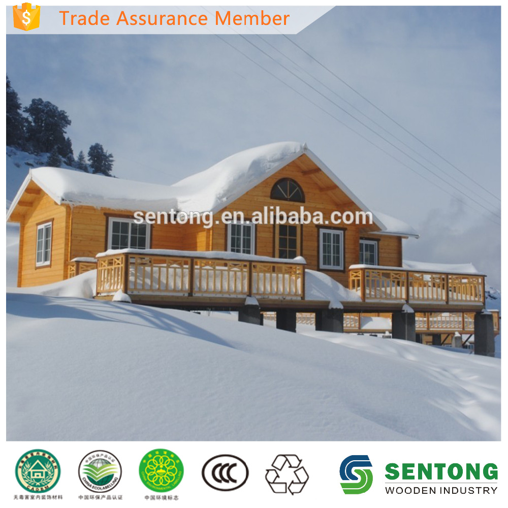 2015 New Design Prefab Wooden House with Terrace for Skiing Resort