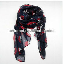 New design skull printed spanish silk shawls