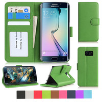 PU leather Flip Case for Samsung Galaxy S6 Edge with magnetic close and internal pockets