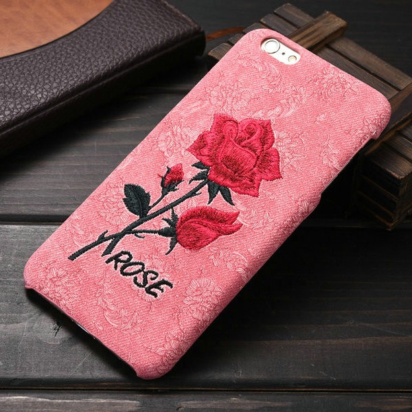 New arrival latest product High quality embroider rose back cover case for apple iphone 6plus