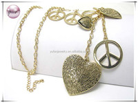 Tri tone metal textured heart and peace mark dangle long necklace earring set