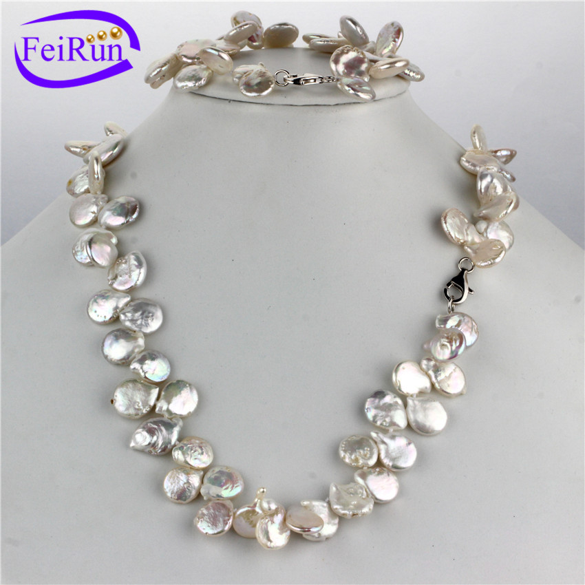 FEIRUN 11-12mm AA coin wholesale pearl wedding set, pearl jewellery set, pearl set silver 925