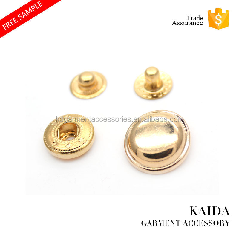 KAIDA chinese button factory dome shape metal snap golden button for garment accessories