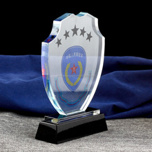 Hot fashion shield design crystal trophy and award with black base for honour souvenir