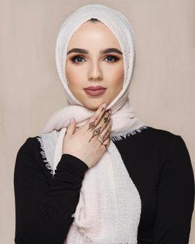 Newest Soft Cotton Plain Crushed Tassels Wrinkle Prime Crimp Hijab Premium Big Size Fold Scarves Solid Color