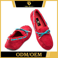Hot-Stamping Attractive Casual Flat Designer Girl Red Sheep Suede Shoes In Agra For Women