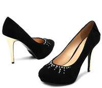 Mature sexy ladies black crystals red platforms White rhinestone high heel wedding mental heel comfortable shoes