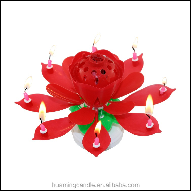 Cheap Flower Birthday Candle With Music Double Deck Rotating Lotus For