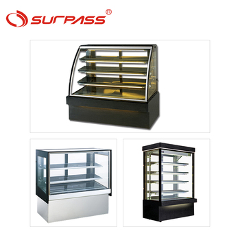 Commercial curved cake showcase refrigerated sliding glass door display cabinet