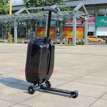 Factory hot sales pc luggage scooter eva 2016 travel suitcase with three wheels for hospital