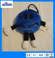 Oriental Trading Mini Small Stuffed Plush Soft Blue Smiley Face Doll Toy