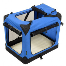 Deluxe Blue & Beige Indoor/Outdoor Three Doors with Fleece Mat & Storage Pockets Soft dog crate wholesale.