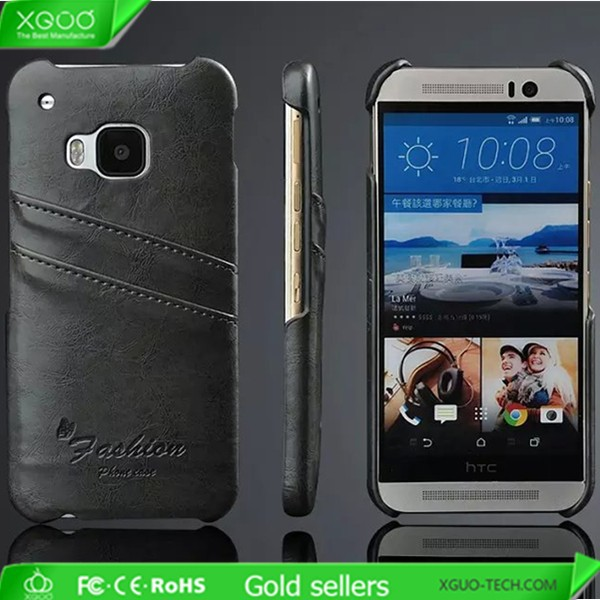 New arrival card holder leather back case for HTC M9