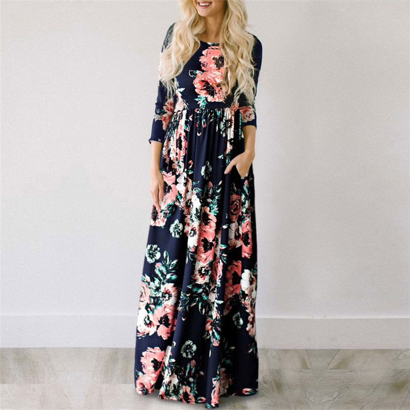 19 Summer Long Dress Floral Print Boho Beach Dress Tunic Maxi Dress Women Evening Party Dress Sundress Vestidos de festa XXXL 10