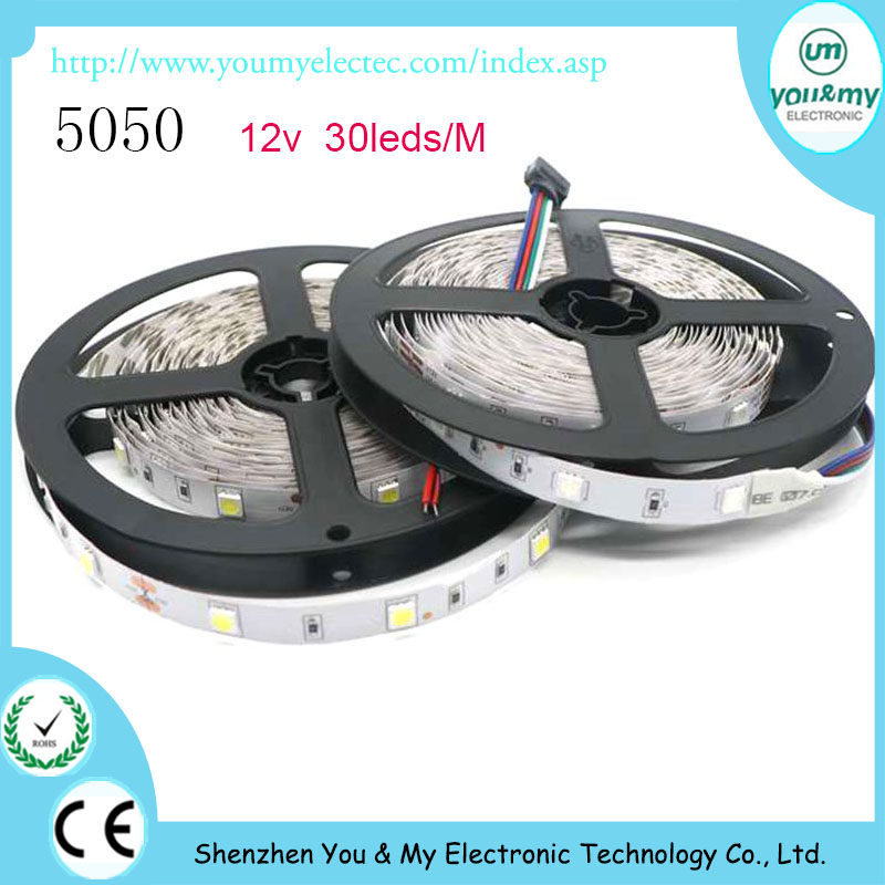 Hot Sale LED Strip 5050 12V 60led/M Nonwaterproof RGB White Warm White Cold White Blue Green Red Flexible Light