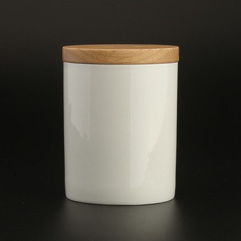 12oz 340ml Plain White Ceramic Coffee Tea Canister With Wood Lid and Silicone Ring Airtight