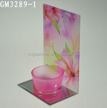 Valentine's Day decorative glass candle holder with rose flower