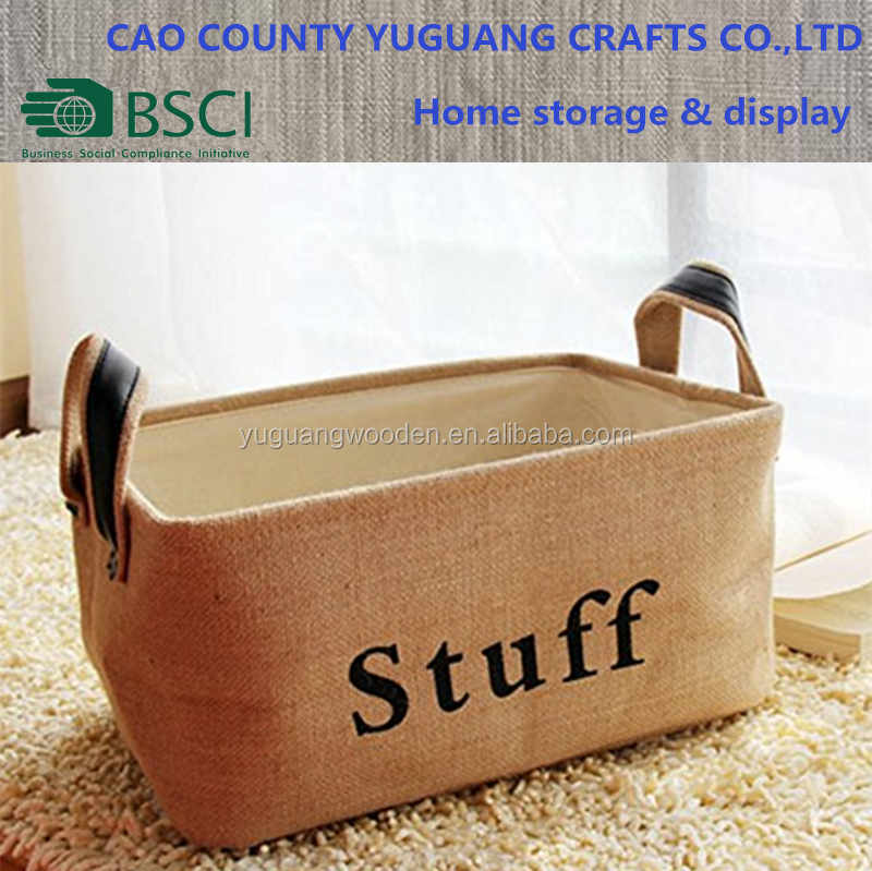 fabric collapsible sewing basket with leather handle
