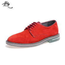 Red color suede leather casual men shoes