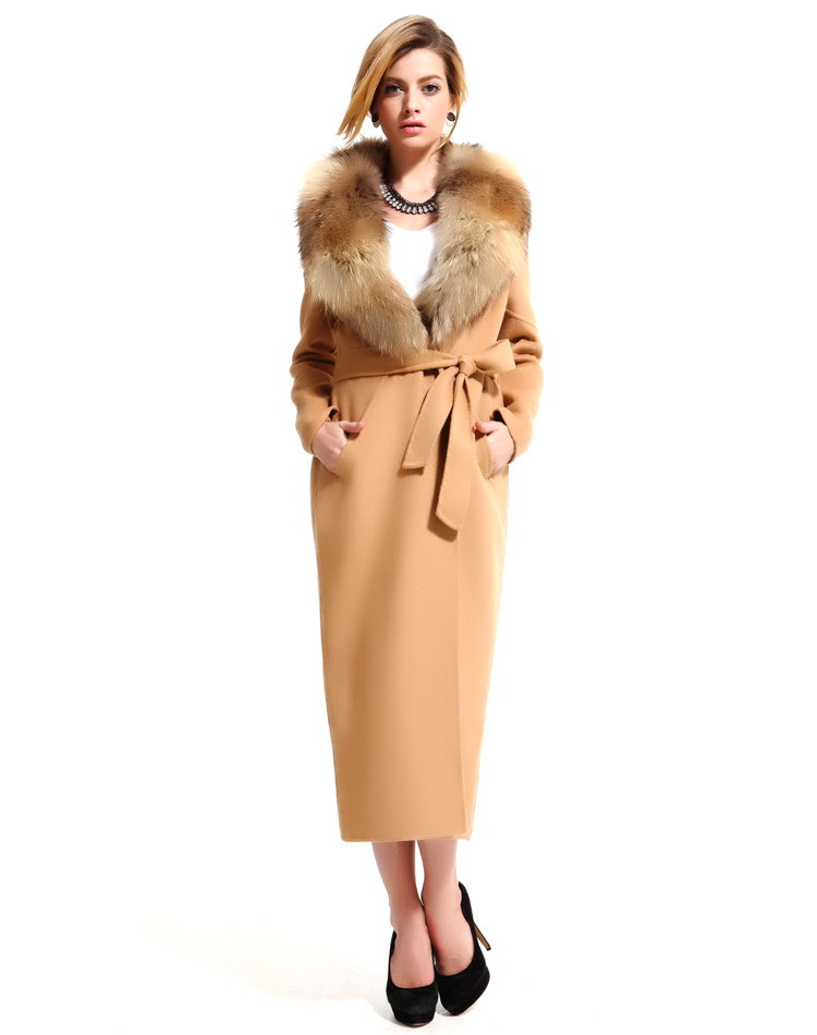 Maxnegio New 2018 Fashion Winter Women Coat With Belt Real Fur Coat Collar Women's Double Side Cashmere Coat Manufacturer