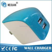 MEOUAN 5V2.1A US plug blue Dual USB Port cell phone battery chargers