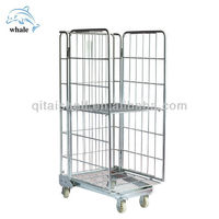 Folding storage steel heavy duty roll container with caster