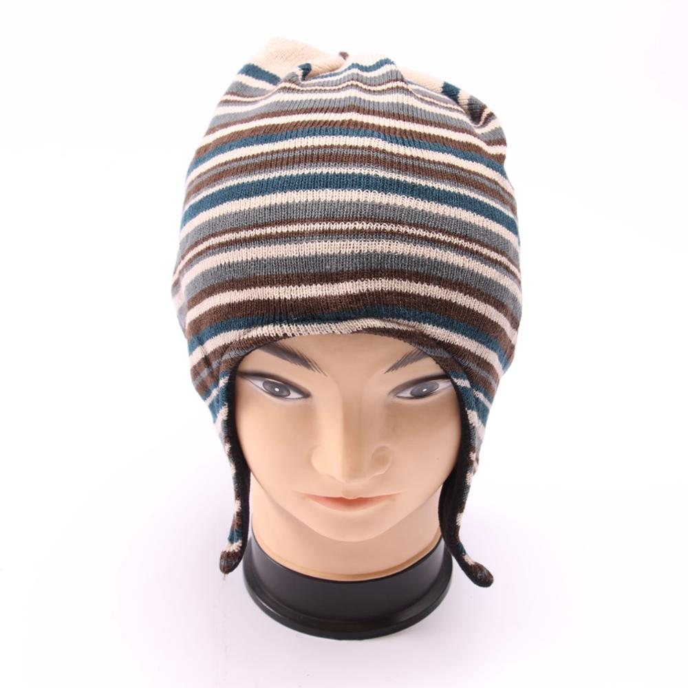 Keep warm winter knitted earflap hat with neck string