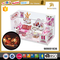 Beautiful toy wooden doll house furniture with light