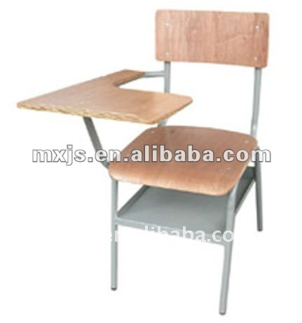 Wooden training chair with writing pad and barkest for classroom furniture