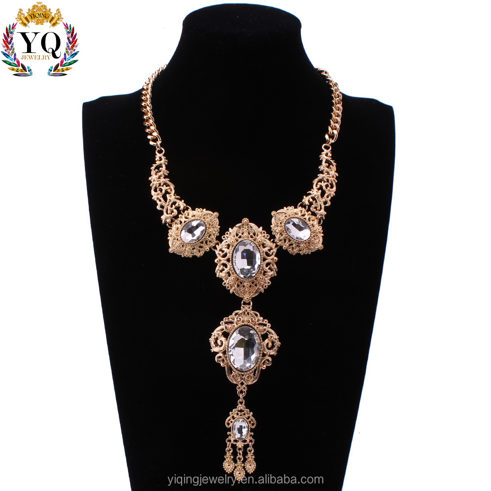 NYQ-00559 factory price unique luxury big crystal rhinestone golden antique silver statement necklace for women anniversary gift