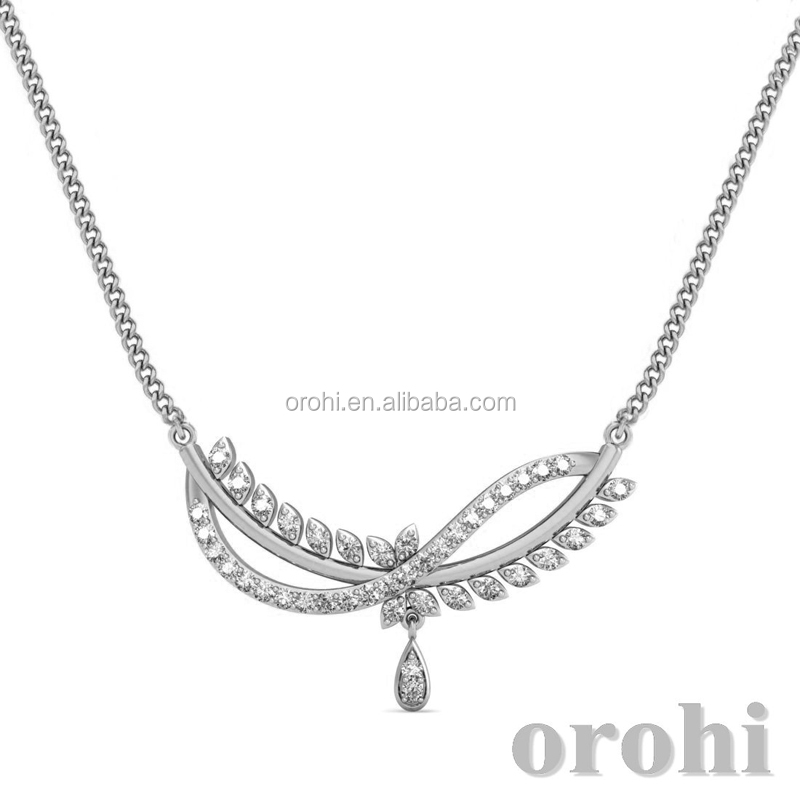 Trendy Design Wholesale Jewelry 925 Sterling Silver Necklace Real Diamond Necklace for Bridal