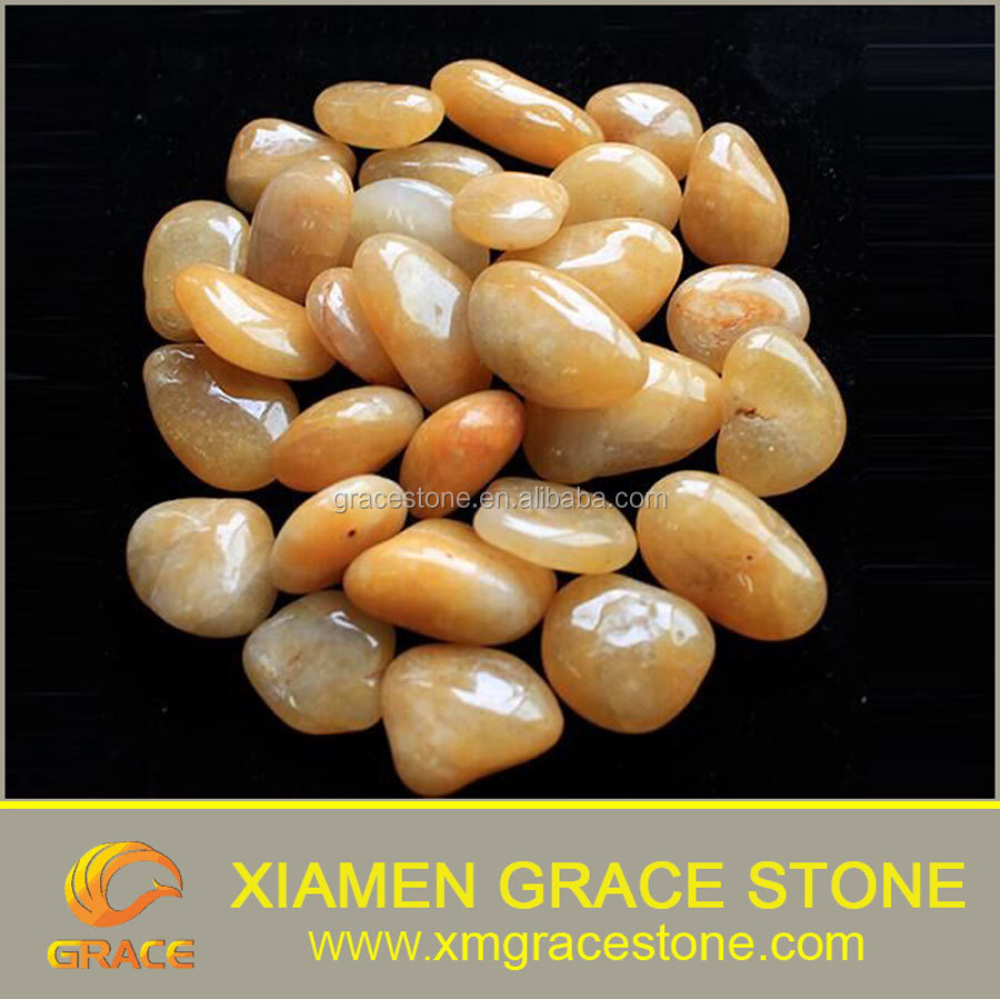 High polished, yellow color flat pebble river stone, natural pebble stone