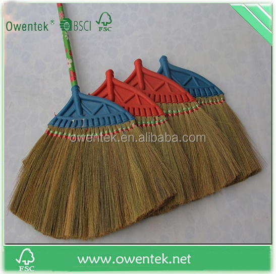 India market type broom corn for sale,with wooden stick model grass broom