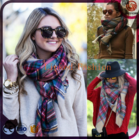 Plaid Blanket Scarf Oversized Tartan Scarfs