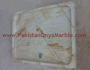 Natural Color Marble/Teakwood Marble Shower Tray,