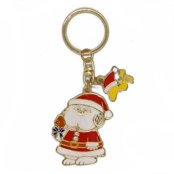 Custom design christmas gift zinc alloy metal cartoon keychain souvenir gold plating enamel santa claus shaped keyring