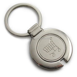 Wholesales cheap shopping push cart coin keychain for supermarket