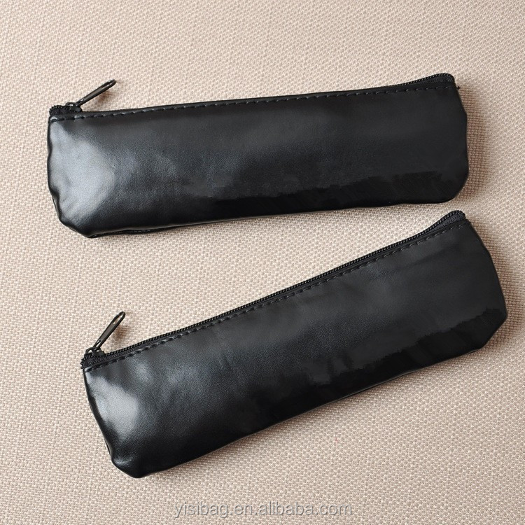 black zipper pu eyebrow pencil bags