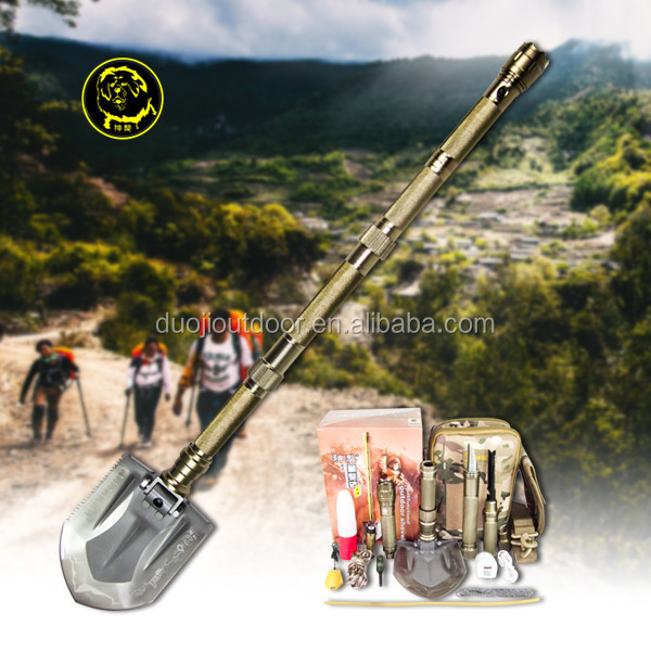 Survival Equipment Camping Survival tools Multifunction shovel Saw slice chopp,wire cutter, flashlight