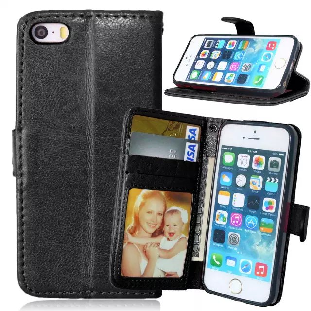 For Apple iPhone 5S Magnetic Flip PU Leather Wallet Case with Photo Frame Card Holder Smart Stand fundas 4G Mobile Phone Cover